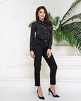 Костюм женский стильный (брюки+блуза в тон), арт 600+601, цвет чёрный