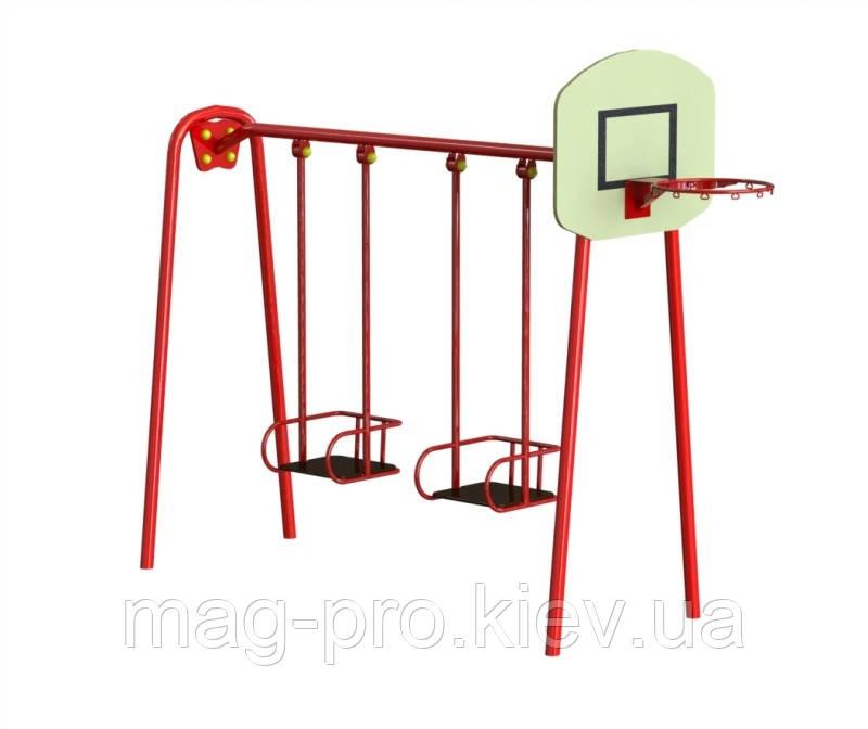 Гойдалки подвійні великі з баскетбольним щитом