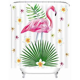 Штора для ванної Рожевий фламінго 180 х 180 см Berni Home