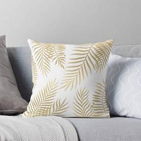 Подушка декоративна Золоті листя 45 х 45 см Berni Home