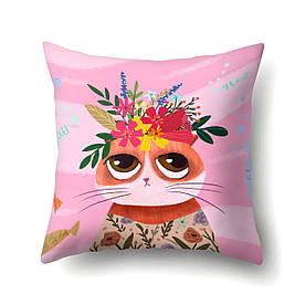 Наволочка декоративна Кішка з квітами 45 х 45 см Berni Home