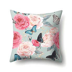 Наволочка декоративная Бабочки и розы 45 х 45 см Berni Home