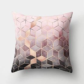 Наволочка декоративна Рожеві куби 45 х 45 см Berni Home