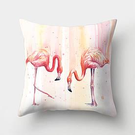 Наволочка декоративная Розовые фламинго 45 х 45 см Berni Home