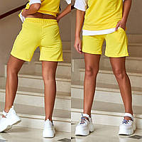 Трикотажные шорты женские с карманами желтый