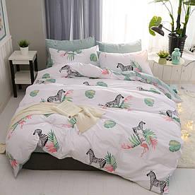 Комплект постільної білизни Зебра і фламінго (двоспальний євро) Berni Home