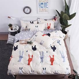 Комплект постільної білизни Кролики з морквою (двоспальний євро) Berni Home