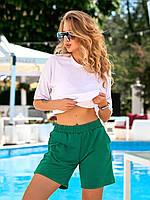 Трикотажные шорты женские с карманами зелень