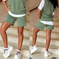 Трикотажные шорты женские с карманами матчо