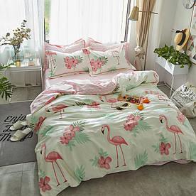 Комплект постельного белья Фламинго в цветах (двуспальный-евро) Berni Home