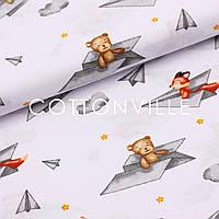 Хлопковая ткань Зверята в бумажных самолетиках
