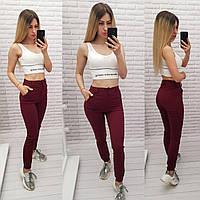 Стильные стрейчевые брюки-джоггеры, арт 1009, цвет бордо
