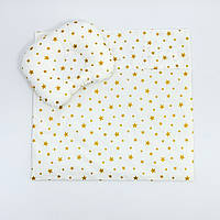 """Комплект в коляску BabySoon """"Золоті зірки"""" ковдра 65 х 75 см подушка 22 х 26 см колір молочний, фото 1"""