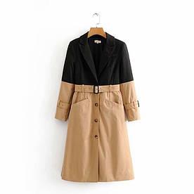 Плащ жіночий з контрастної тканини Horizon (без пояса) Berni Fashion (M)