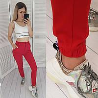 Стильные стрейчевые брюки-джоггеры, арт 1009, цвет красный