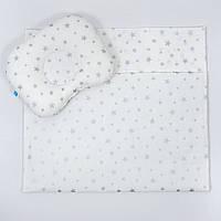 """Комплект в коляску BabySoon """"Срібні зірки"""" ковдра 65 х 75 см подушка 22 х 26 см колір білий, фото 1"""