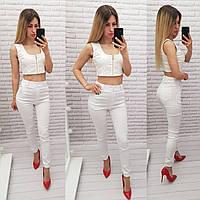 Стильные стрейчевые брюки-джоггеры, арт 1009, цвет белый