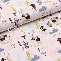 Хлопковая ткань Медведи, ежики с цветами на бледно-розовом