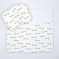 """Комплект в коляску BabySoon """"Вії"""" ковдра 65 х 75 см подушка 22 х 26 см колір білий, фото 1"""
