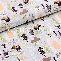 Хлопковая ткань Медведи, ежики с цветами на сером