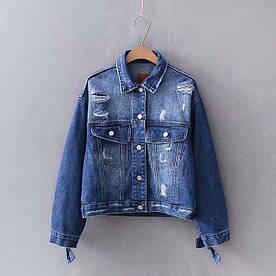 Куртка женская джинсовая с контрастной вставкой Surge Berni Fashion (S)