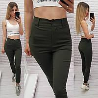 Стильные стрейчевые брюки-джоггеры, арт 1009, цвет хаки
