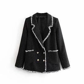 Жакет женский твидовый с контрастной бахромой Fringe Berni Fashion (S)