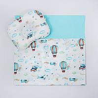 """Річний комплект в коляску BabySoon """"Повітряні кулі"""" ковдра 65 х 75 см подушка 22 х 26 см колір бірюзовий, фото 1"""