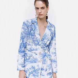 Блейзер женский с поясом Blue pattern Berni Fashion (L)