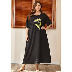 Сорочка нічна жіноча Linden flower, чорний Berni Fashion PLUS (XL)