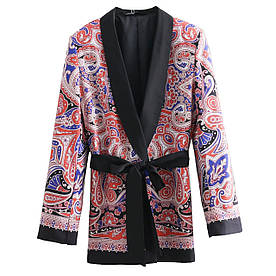 Блейзер женский с поясом Red pattern Berni Fashion (S)