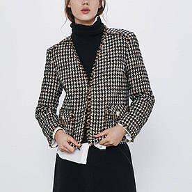 Жакет женский твидовый с бахромой Luxury Berni Fashion (S)