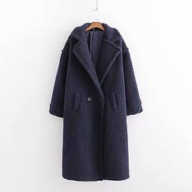Пальто жіноче з штучного хутра Style, синій Berni Fashion (S)