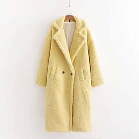 Пальто жіноче з штучного хутра Style, жовтий Berni Fashion (S)
