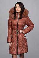 Зимнее женское молодежное пальто. Код К-53-12-15. Цвет светло коричневый с белым.