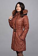 . Зимнее женское молодежное пальто. Код К-53-12-15. Цвет светло коричневый с черным.