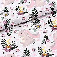 Хлопковая ткань Зайки, бабочки, цветы
