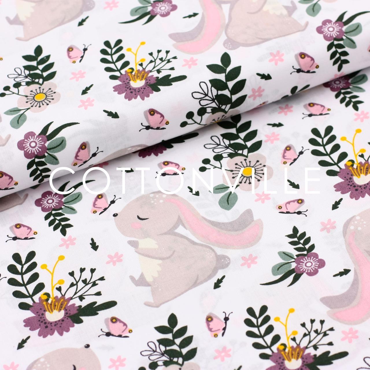 ✁ Отрезы Хлопковой ткани Зайки, бабочки, цветы