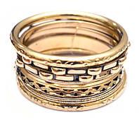 Комплект из 7 браслетов кольцо Дутые желтый метал d = 7 см.