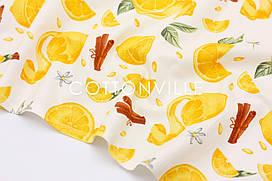 Декоративная ткань/ панама Лимоны, корица