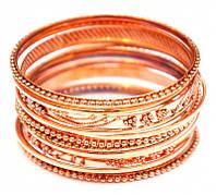 Комплект из 14 браслетов кольцо медь d = 7 см.