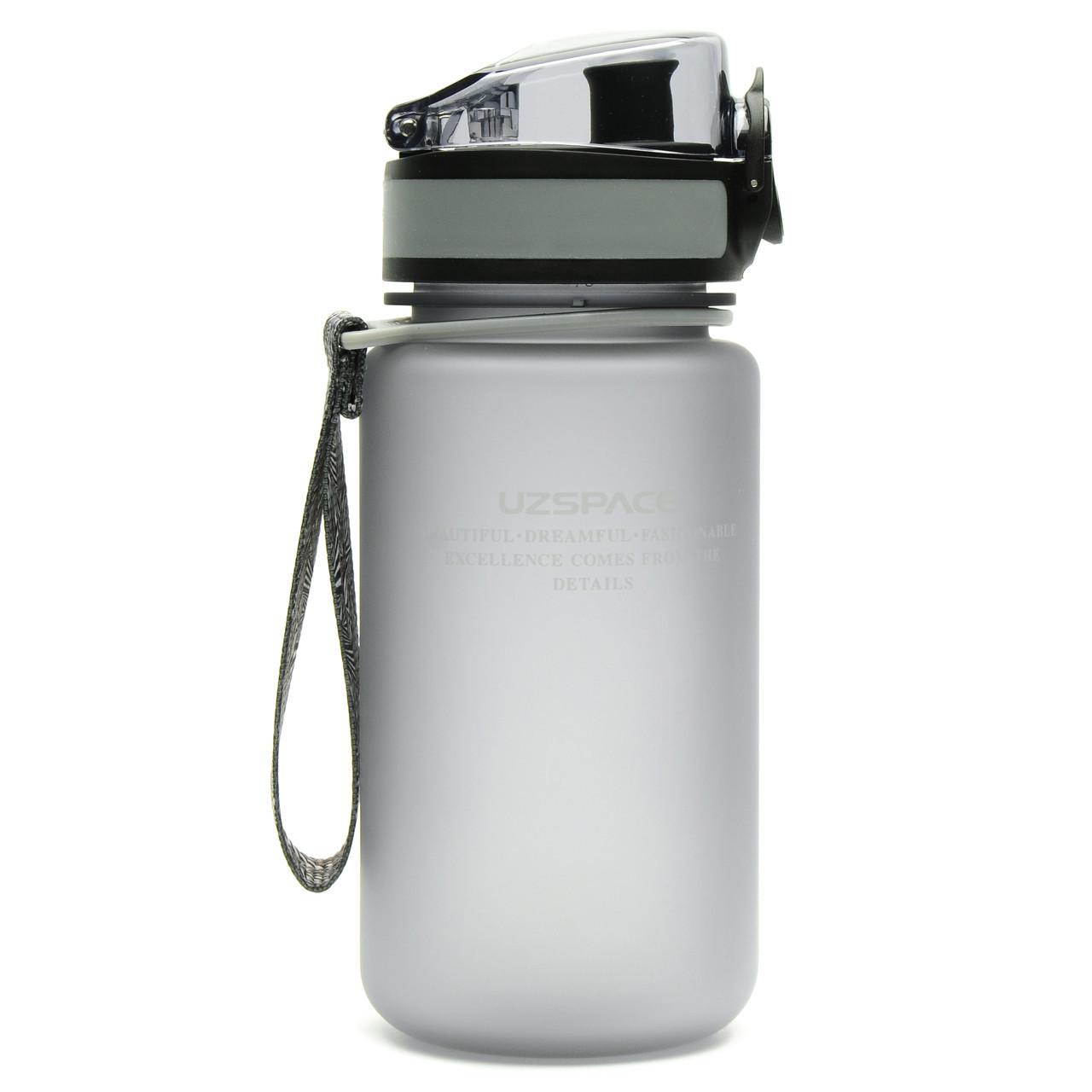Пляшка фляга спортивна для води UZspace 3034 350 мл Сірий (gr_012032)