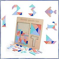 Деревянная головоломка 3в1 WOODEN PUZZLE TOY 30×30×1 пазлы Детские развивающие интерактивные игрушки для детей