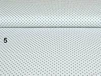Ткань с серым  горошком 4 мм на белом фоне (№5).