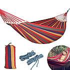 ОПТ Гамак тканинний мексиканський з поперечною планкою 40см 80×200см садовий з кріпленнями, фото 4