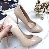 Туфлі жіночі класичні  бежеві,лакові, фото 3
