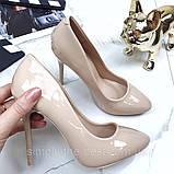 Туфлі жіночі класичні  бежеві,лакові, фото 4