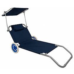 Шезлонг на колесах з дашком Bonro SP-152-4 синій