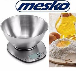 Весы кухонные металлические Mesko MS 3152 с чашей