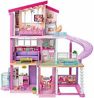Дитячий ігровий набір для ляльок Барбі 3-х поверховий Будинок Мрії з гіркою і басейном, гаражем і меблями Barbie, фото 1